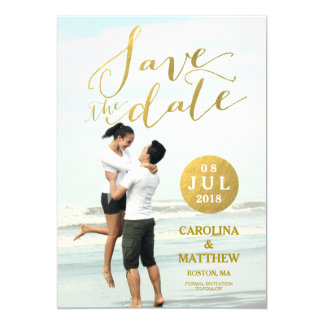 Gold Foil Glamour | Photo Save the Date Card 13 Cm X 18 Cm Invitation Card