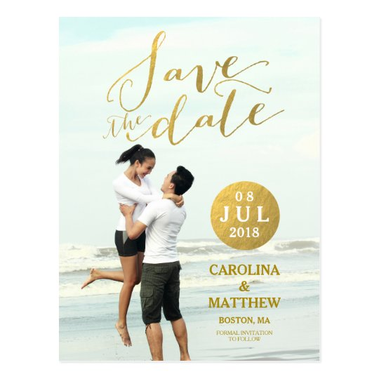 Gold Foil Glamour | Photo Save the Date