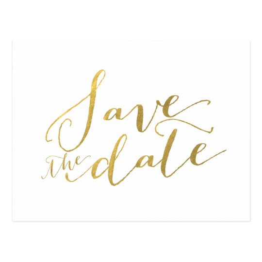 Gold Foil Glamour | Save the Date Postcard