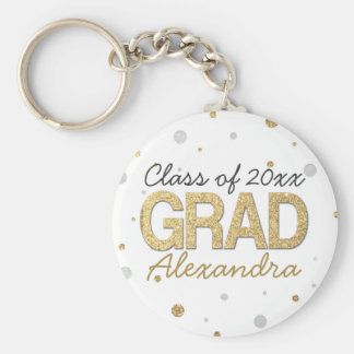 Gold Foil Glitter Confetti Graduation Party Custom Basic Round Button Key Ring