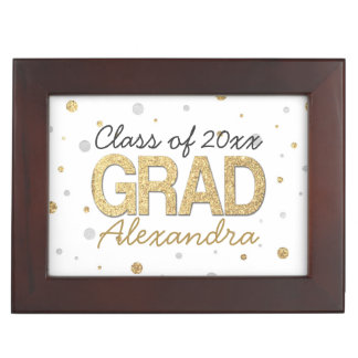 Gold Foil Glitter Confetti Graduation Party Custom Keepsake Box