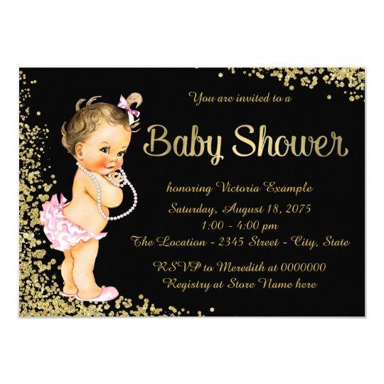 Gold Foil Glitter Girl Baby Shower Card