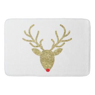 Gold Foil Glitter Rudolph Christmas Bath Mats