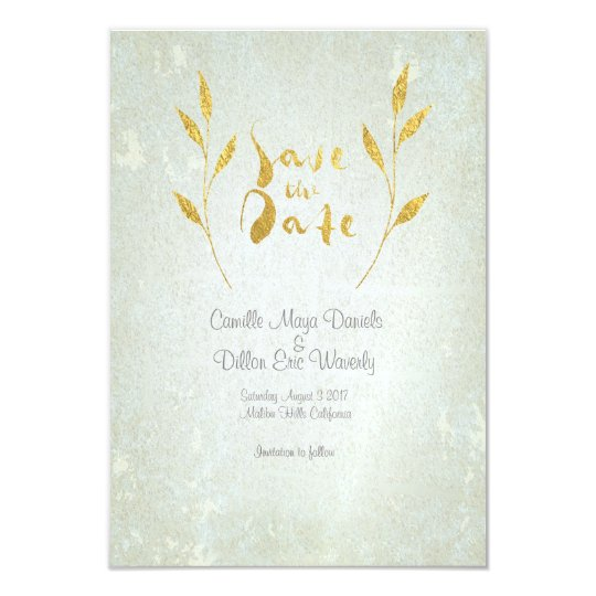 Gold Foil Gold Leaf-Effect Save-The-Date Wedding Card