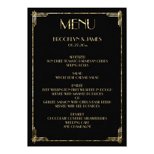 Gold Foil Great Gatsby Art Deco Wedding Menu