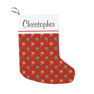 Gold Foil Green and Red Palm Trees Monogram Small Christmas Stocking