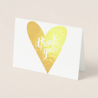 Gold Foil Hand-drawn Heart Typography Thank You Foil Card