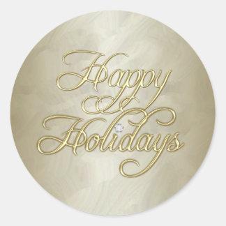 Gold Foil Happy Holidays Diamond Sticker