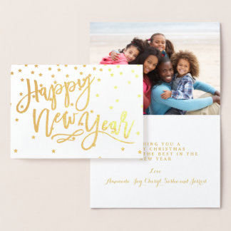 Gold Foil Happy New Year Holiday Photo Foil Card