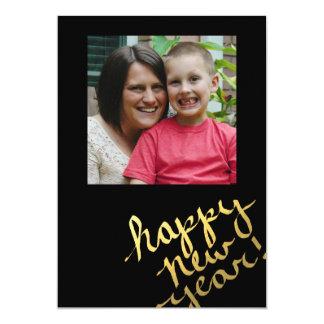 gold foil happy new years photo card 13 cm x 18 cm invitation card