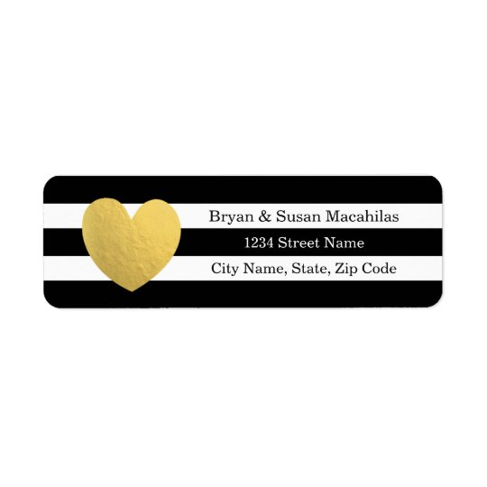 Gold Foil Heart Black Stripe Wedding Address Label