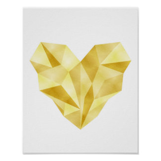 Gold foil heart Geometric heart poster