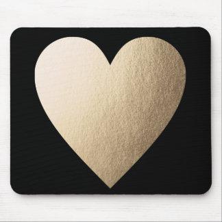 Gold Foil Heart Mousepad