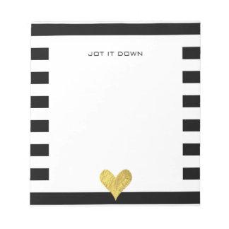 Gold Foil Heart Notepads