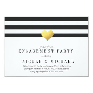 Gold Foil Heart + Stripes Engagement Party Card