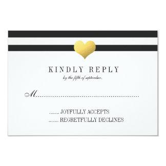 Gold Foil Heart + Stripes RSVP 9 Cm X 13 Cm Invitation Card