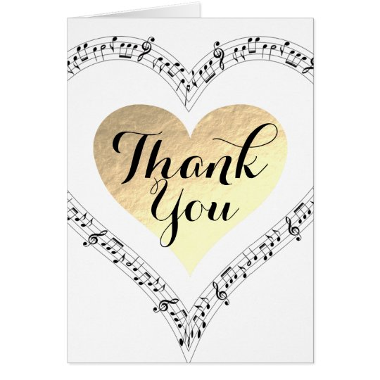 Gold foil heart Thank you music Card