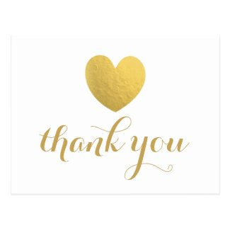 Gold Foil Heart Thank You Post Card