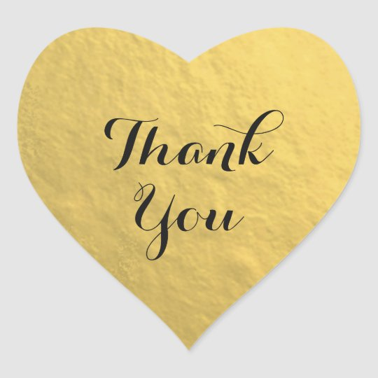 Gold Foil Heart Thank You Sticker