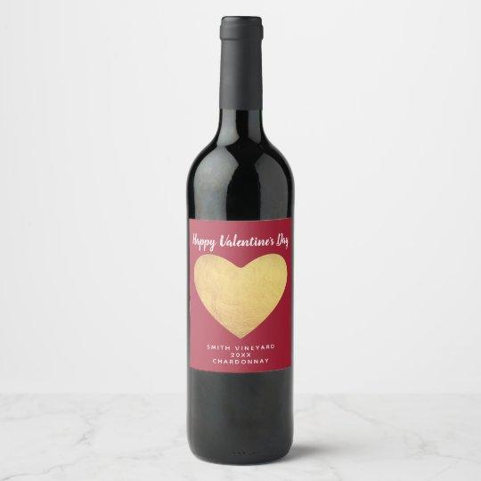 Gold Foil Heart Wine Label
