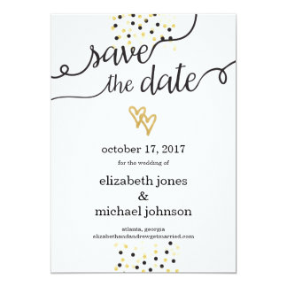 Gold Foil Hearts and Confetti Save the Date Card