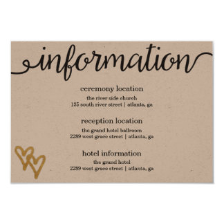 Gold Foil Hearts Kraft Paper Information Card 9 Cm X 13 Cm Invitation Card