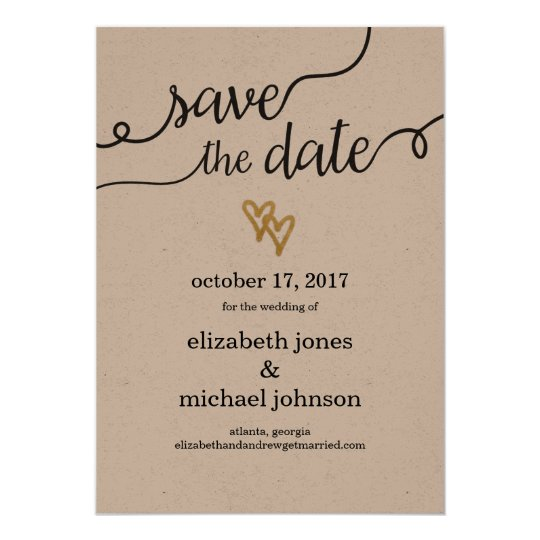 Gold Foil Hearts Kraft Paper Save the Date
