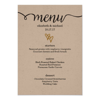 Gold Foil Hearts Kraft Paper Wedding Menu Card