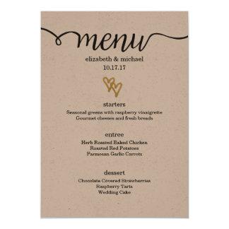 Gold Foil Hearts Kraft Paper Wedding Menu Card