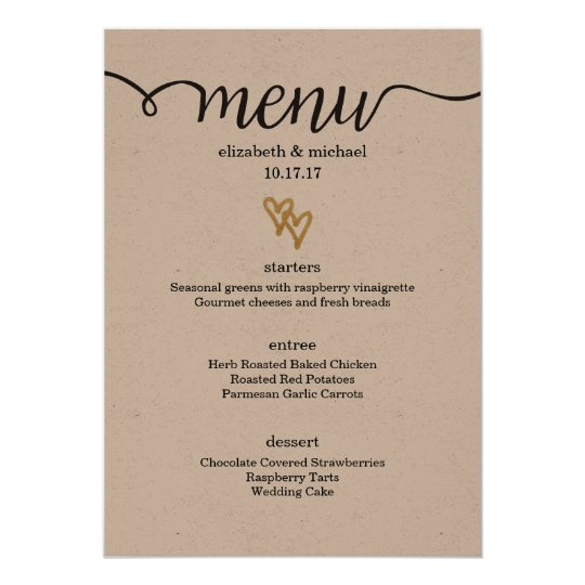 Gold Foil Hearts Kraft Paper Wedding Menu Card  ZazzleCoUk