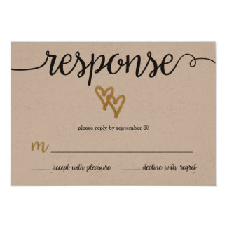 Gold Foil Hearts Kraft Paper Wedding RSVP Card 9 Cm X 13 Cm Invitation Card