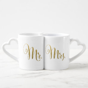 Gold Foil His and Hers Mr Mrs Typography Love Mugs