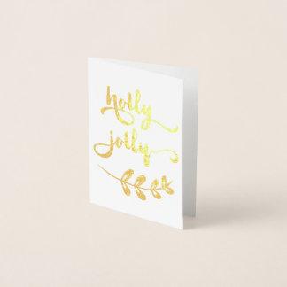 Gold foil Holly Jolly Christmas Notecard Foil Card