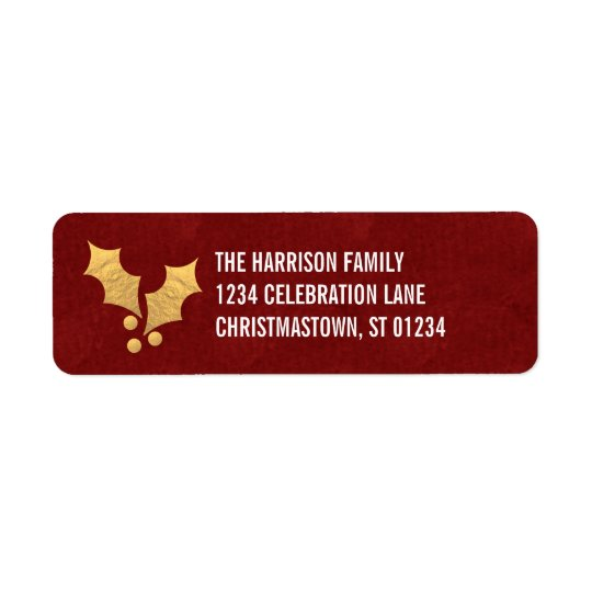 Gold Foil Holly Personalised Christmas Return Address Label