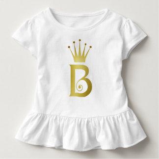 Gold Foil Initial B Letter Monogram Baby Girl Top