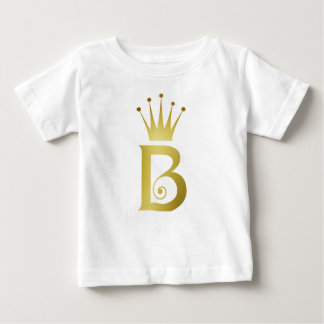 Gold Foil Initial B Letter Monogram Baby T-shirt