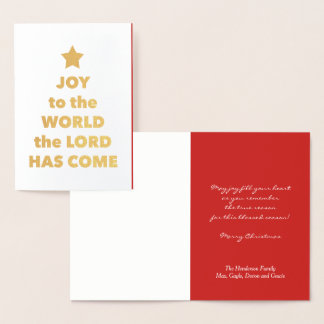 Gold Foil Joy to the World Religious Christmas Foil Card