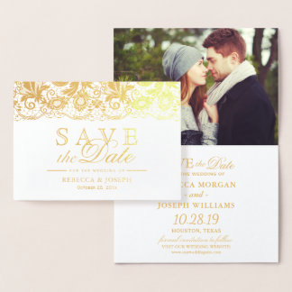 Gold Foil Lace Floral Wedding Save the Date Foil Card