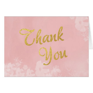 Gold Foil Lettering on Pink Floral Thank You Card