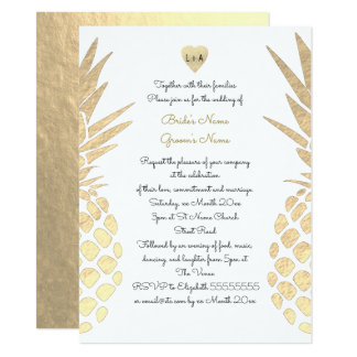 gold foil look pineapple tropical summer wedding card