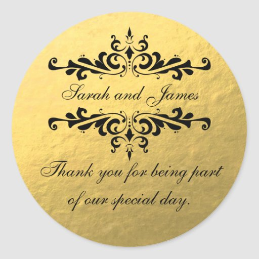 Gold Foil Look Wedding Favor Thank You Label Round Stickers