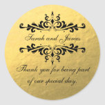Gold Foil Look Wedding Favour Thank You Label Round Sticker