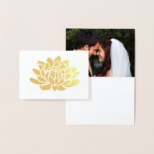 Gold Foil Lotus Flower Photo Thank You Card