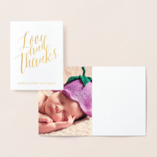 Gold Foil Love and Thanks Calligraphy Photo Inside Foil Card