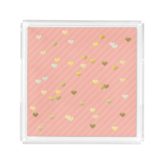 gold foil love hearts pattern, pastel pink stripes acrylic tray