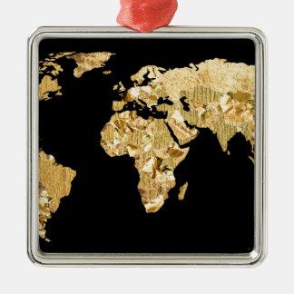 Gold Foil Map Christmas Ornament