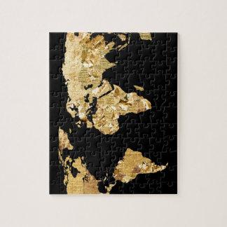 Gold Foil Map Jigsaw Puzzle