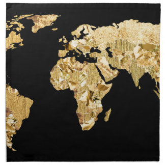 Gold Foil Map Napkin