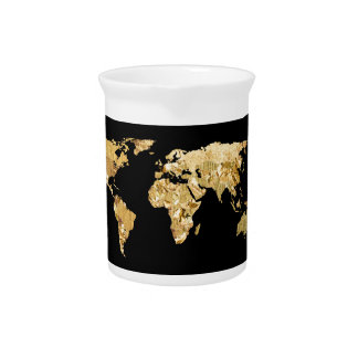 Gold Foil Map Pitcher