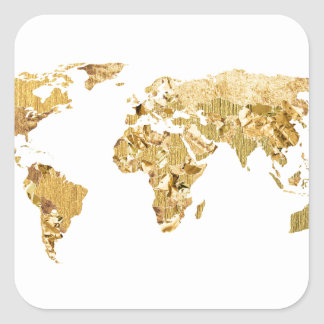 World map globe stickers zazzle gold foil map square sticker gumiabroncs Images